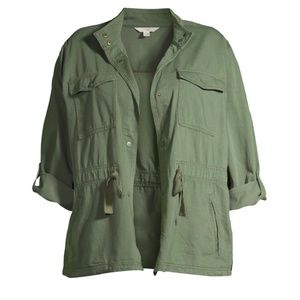 Terra & Sky Women Plus Snap Front Utility Jacket